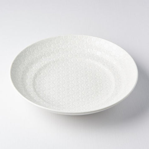 White Star Flat Base Serving Bowl