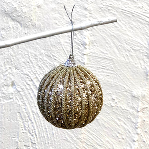 Gold Ribbed Glitter Hanging Christmas Bauble
