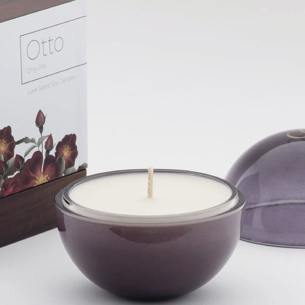 Only Orb OTTO - Roses & Green Leaves Candle in Violet Glass Orb
