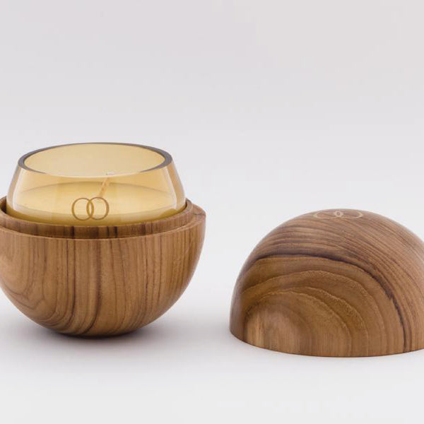 Only Orb Otto - Roses & Green Leaves Candle in Teak Orb