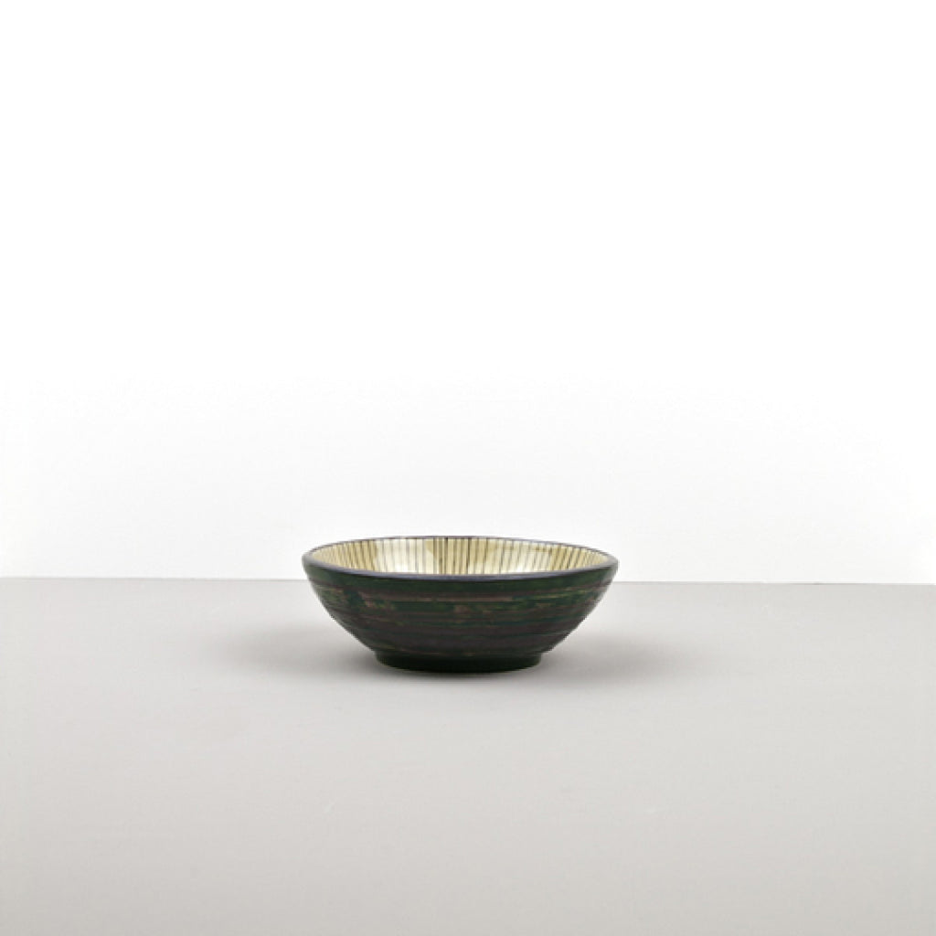 Dark Green Converging Small Shallow Bowl