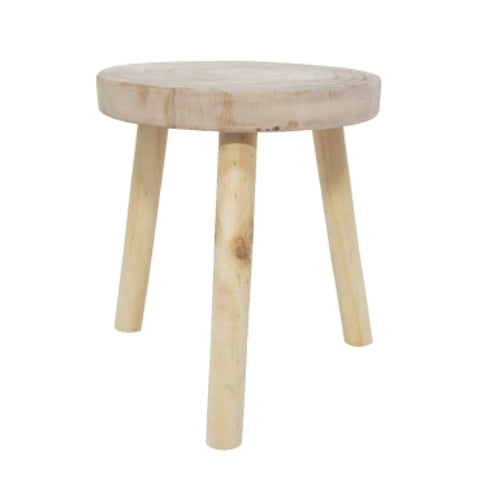 Natural Carved Wood Stool
