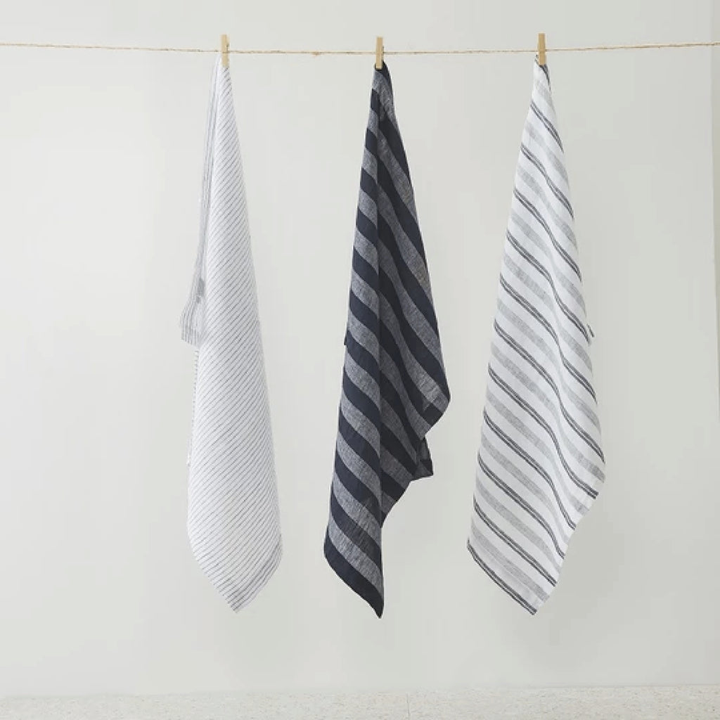 Pure Linen Stripe Tea Towel 3 pack