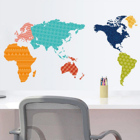 Vinyl Wall Map Art - Colorful Map of the World Wall Sticker Poster