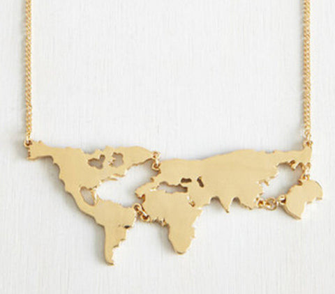 Gold World Map Necklace - World Travel Jewelry