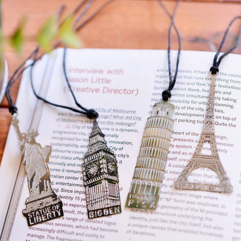 Landmark Bookmarks - Eiffel Tower Big Ben Tower of Pisa Statue of Liberty Book Mark