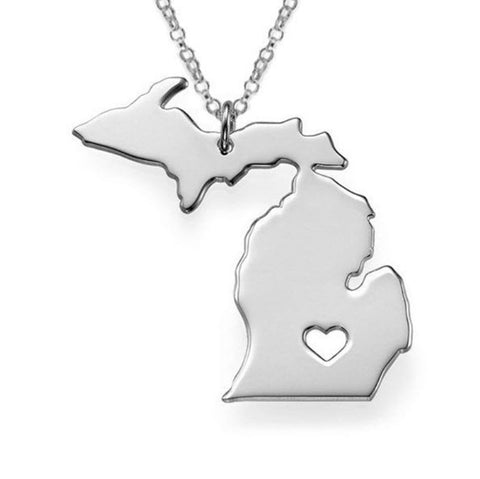 Love Michigan Necklace in Gold or Silver State Necklace