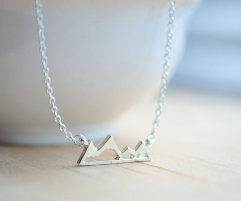 Mountain Range Necklace - Dainty Silver Nature Pendant Necklace