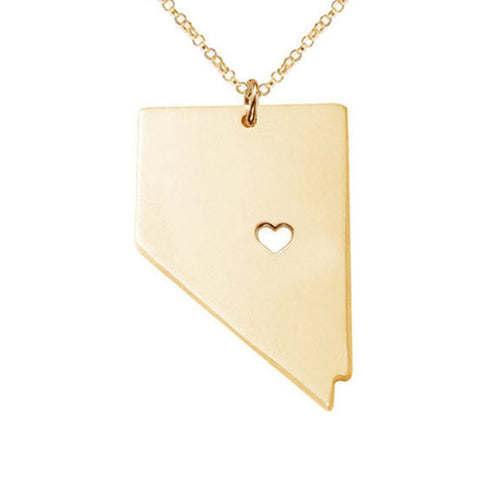 Love Nevada Necklace in Gold or Silver State Necklace