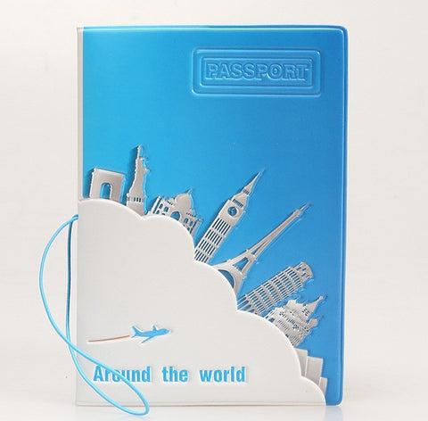 World Monument Passport Holder - Blue Plastic Passport Case
