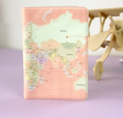 Pink Map Passport Holder - Rose Plastic Passport Case
