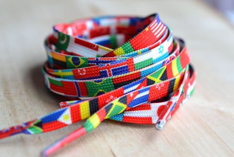 Flags of the World Shoe Laces - Countries Travel Shoelaces