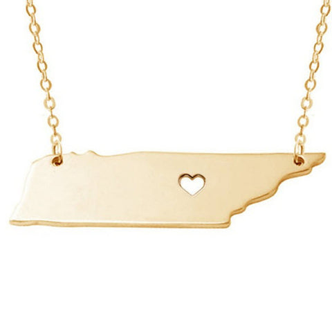 Love Tennessee Necklace in Gold or Silver State Necklace