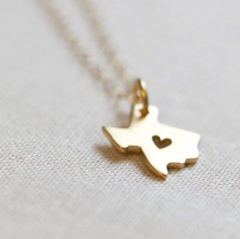 Love Texas Necklace in Gold or Silver
