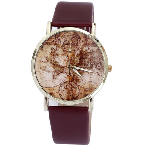 Antique Map Watch - Brown Leather World Map Boyfriend Watch