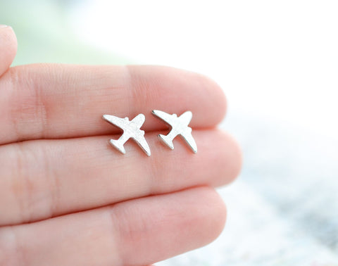 Silver Airplane Earrings - Sterling Silver Travel Jewelry
