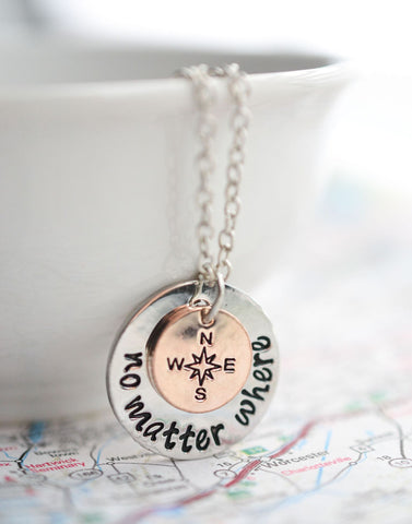 No Matter Where Compass Necklace - Travel Necklace Silver and Rose Gold