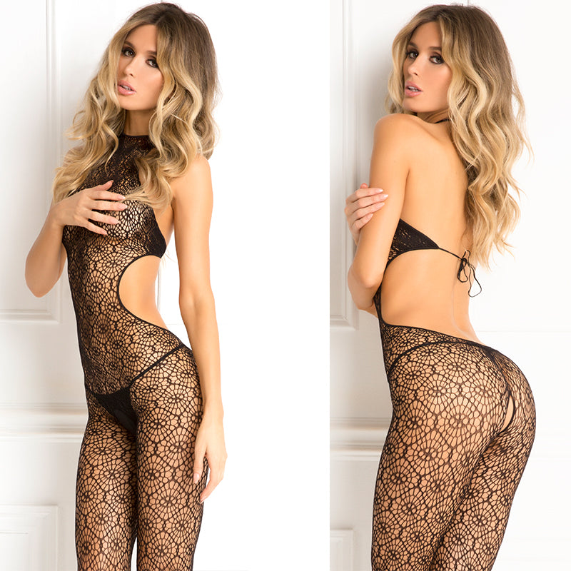 Indiscreet Crochet Bodystocking Blk O/S
