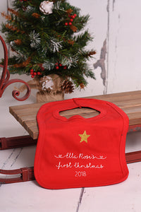 First Christmas Red Bib