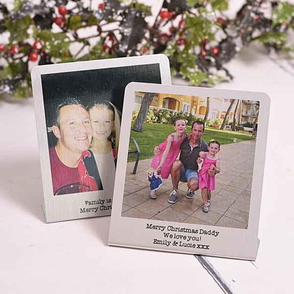 Aluminium freestanding photo card