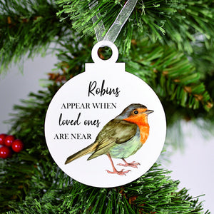 When Robins Appear Memory Acrylic Bauble