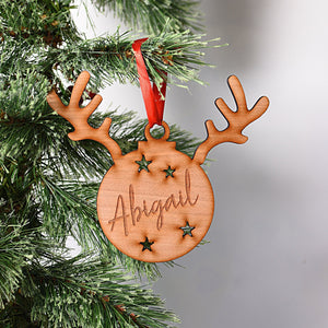 Reindeer Name Star Bauble