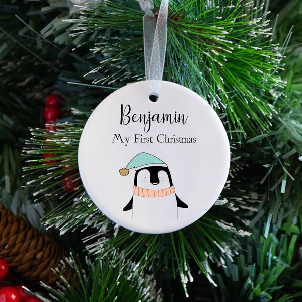 Ceramic Penguin 1st Christmas Tree Decoration