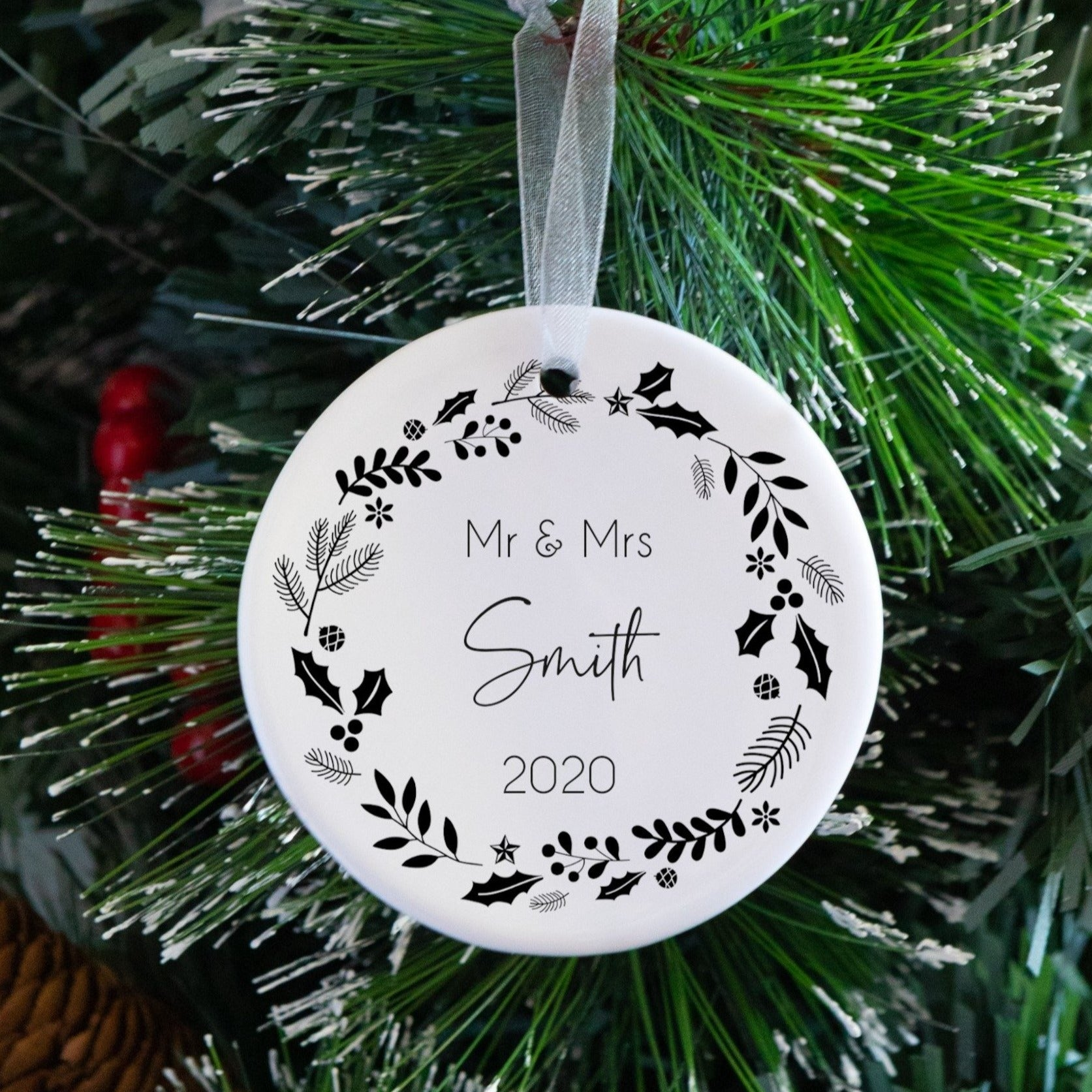 First Christmas Married Wreath Tree Decoration