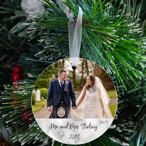 First Christmas Wedding Photo Ceramic Tree Decoration