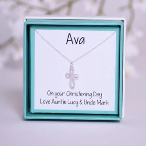 Christening or confirmation cross necklace