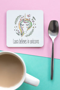 Believe In Unicorns Personalised Coaster