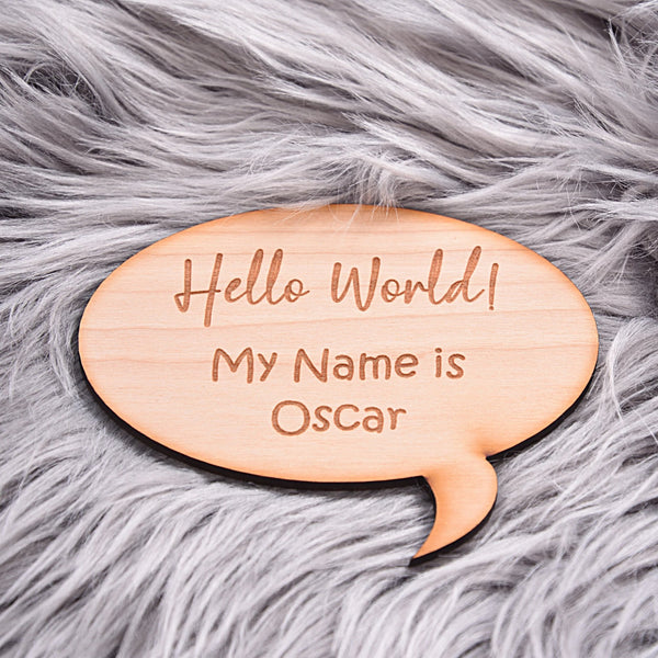 Hello World My Name is Speech Bubble Announcement