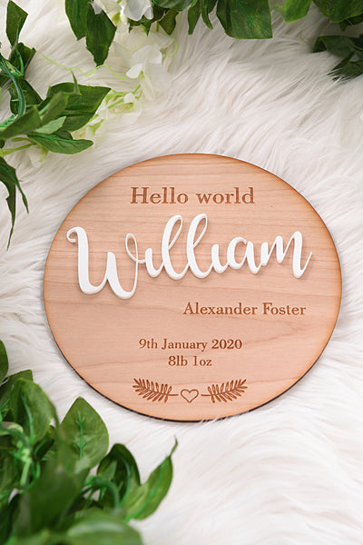 Large Hello World Disc with Acrylic Name