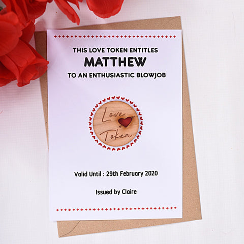 Personalised Wooden Love Token Card