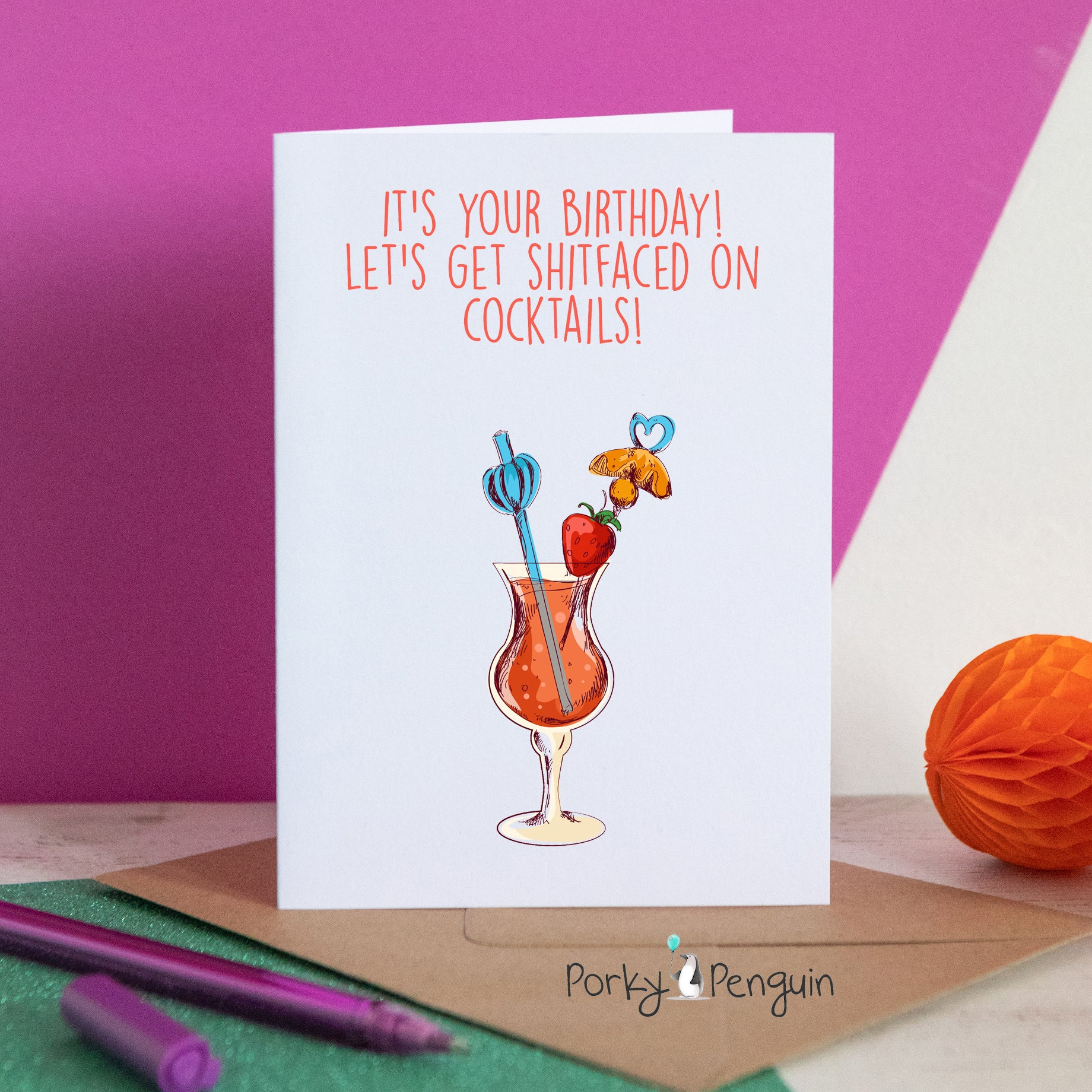 Shitfaced on Cocktails birthday card