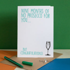 9 Months of No Prosecco Baby Shower Card