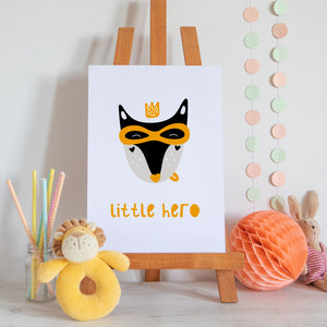 Little Hero Scandi Style Nursery Print