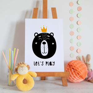 Let's Play Bear Scandi Style Nursery Print