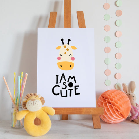 Giraffe I Am So Cute Scandi Style Nursery Print