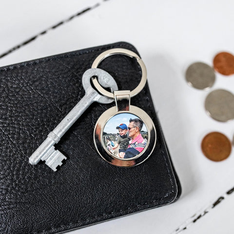 Round Metal Photo Keyring