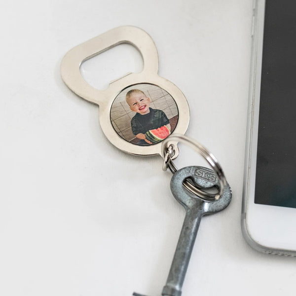 Round Metal Photo Keyring with bottle opener