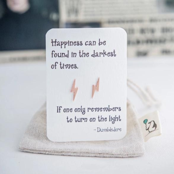 Dumbledore Quote Earrings - Rose Gold