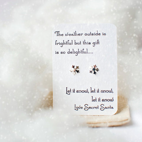 Secret Santa snowflake earrings