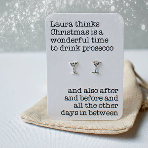 Christmas prosecco earrings