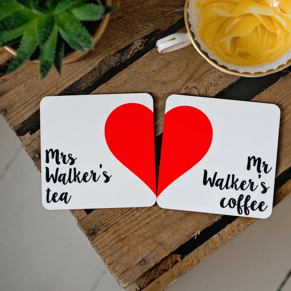 Mr and Mrs Heart Coasters