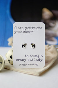 Cat lady earrings - Happy Birthday