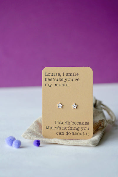 I laugh because earrings - Mum, Auntie, Sister etc