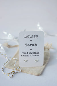 Tied together, friends forever earrings