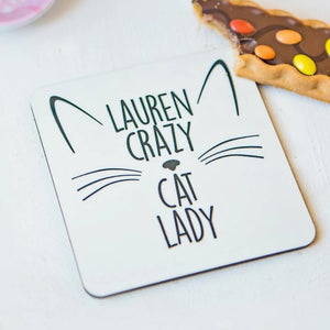 Crazy cat lady coaster - cork base