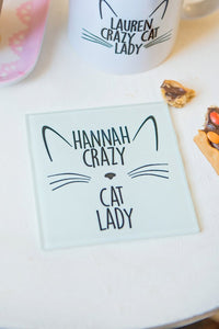 Crazy cat lady coaster - Glass